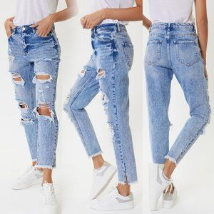 NEW KanCan Maddie High Rise Distressed Mom Jeans